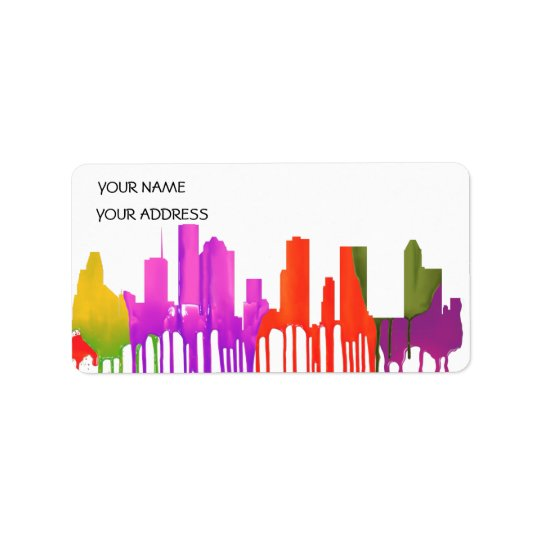 HOUSTON TEXAS SKYLINE PUDDLES - LABEL
