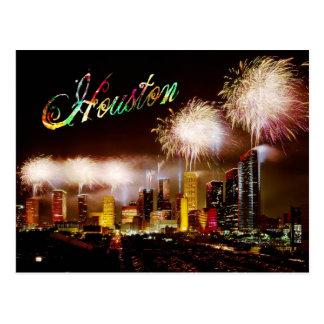 Houston, Texas skyline with fireworks Postcard