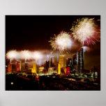 Houston, Texas skyline with fireworks Poster