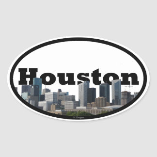 Houston, Texas Skyline with Houston in the Sky Oval Sticker