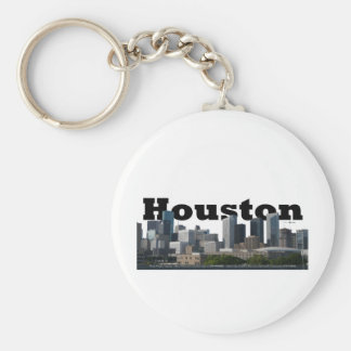 Houston, TX Skyline with Houston in the Sky Basic Round Button Keychain