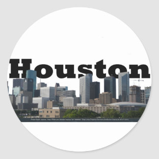 Houston, TX Skyline with Houston in the Sky Classic Round Sticker