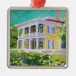 Houston Watercolor, 1850 Nichols-Rice-Cherry House Silver-Colored Square Ornament