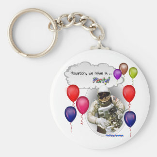 Houston, we have a PARTY! Basic Round Button Keychain