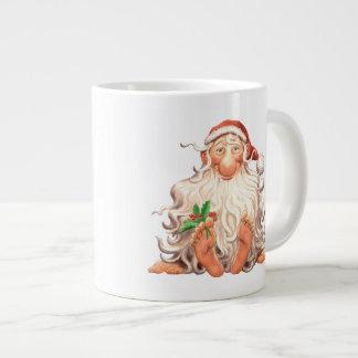Houx aux pieds nus Père Noël gai Tasse Géante
