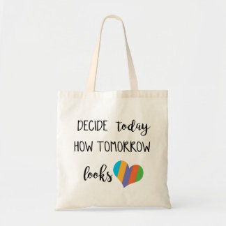 How decides today tomorrow looks love r+f tote bag