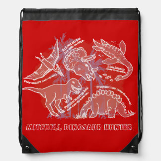 How do you say dinosaur red named drawstring bag