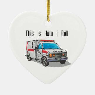 How I Roll Ambulance Ceramic Heart Ornament