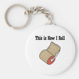 How I Roll Mail Packing Tape Basic Round Button Keychain