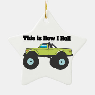 How I Roll (Monster Truck) Ceramic Star Ornament
