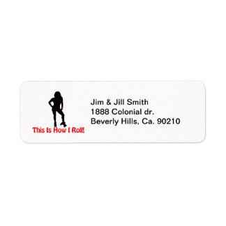 How I Roll Roller Derby Girl Return Address Label