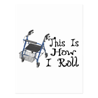 How I Roll Walker Postcard