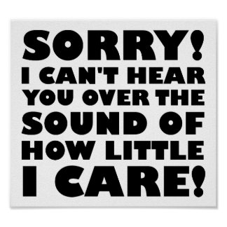 How Little I Care Funny Poster