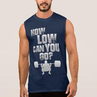 How Low Edge You Go? Men' S blue sleeveless shirt