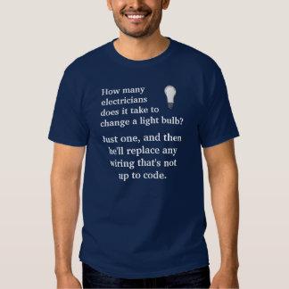 How many electricians/light bulb joke tee shirts