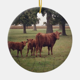 How Now Brown Cow Ceramic Ornament