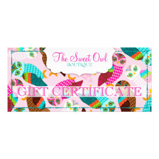 How Now Little Owls? Gift Certificate Customized Rack Card