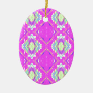 How Pink Girly Pattern Ceramic Oval Ornament