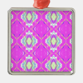 How Pink Girly Pattern Silver-Colored Square Ornament