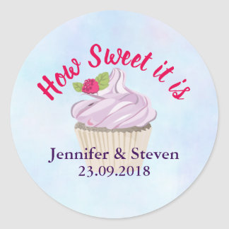 How Sweet it is Pink Cupcake Wedding Classic Round Sticker