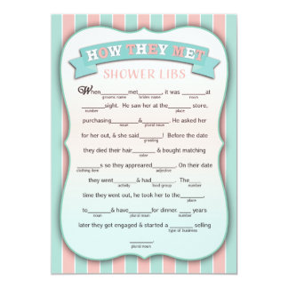 """How They Met Shower Libs Funny Game Cards 5"""" X 7"""" Invitation Card"""