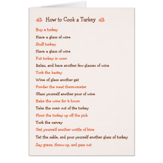How To Cook Turkey Funny Thanksgiving Recipe Card