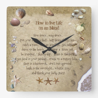 How to live Life on an Island (also in round) Square Wall Clock