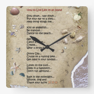 How to live Life on an Island Square Wall Clock