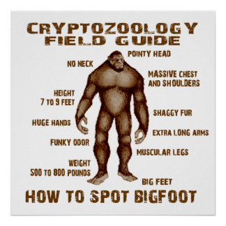 HOW TO SPOT BIGFOOT - Cryptozoology Field Guide Poster