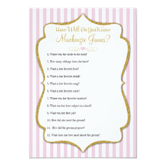 How Well Know The Bride Bridal Shower Game Pink Card