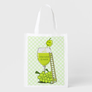 How Wine is Made Funny Illustration Reusable Grocery Bag