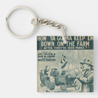How Ya Gonna Keep 'Em Down On The Farm Double-Sided Square Acrylic Keychain