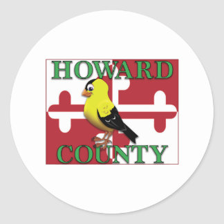 HOWARD COUNTY with goldfinch Classic Round Sticker