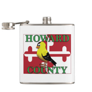 HOWARD COUNTY with goldfinch Hip Flask