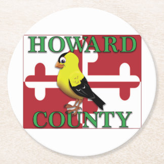 HOWARD COUNTY with goldfinch Round Paper Coaster