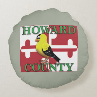 HOWARD COUNTY with goldfinch Round Pillow