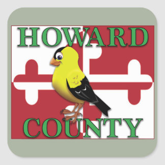 HOWARD COUNTY with goldfinch Square Sticker