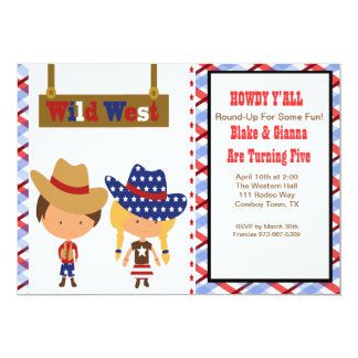HOWDY!AmericanCowboy & Cowgirl Birthday Invitation