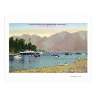 Howe Sound View of Union Steamer at Bowen Island Postcard