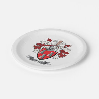 Howell Family Crest Coat of Arms Paper Plate