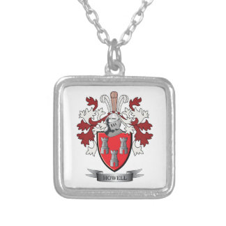 Howell Family Crest Coat of Arms Silver Plated Necklace