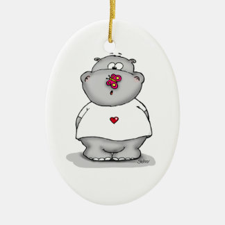 Howie the little Hippo - Hippopotamus Ceramic Oval Ornament