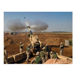 Howitzer Gun Crew United States Marine Corps Postcard