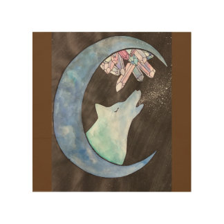"""Howl at The Moon"" Wood Wall Art"