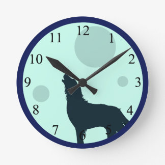 Howl To The Moon Round Clock