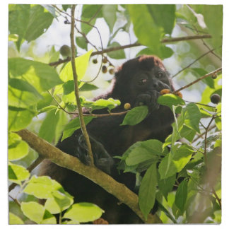 Howler Monkey Eating in the Jungle Printed Napkin
