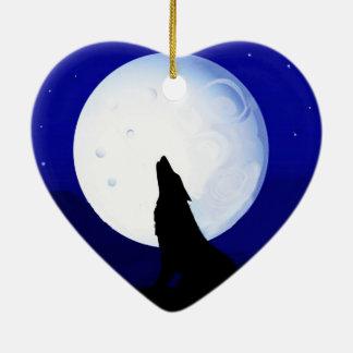 Howlin Coyote - Tucson Arizona Ceramic Heart Ornament