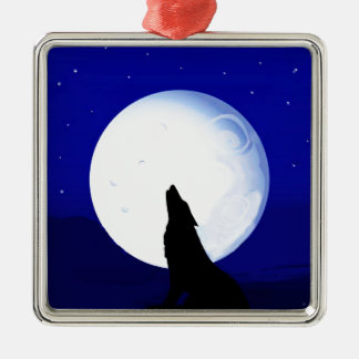 Howlin Coyote - Tucson Arizona Silver-Colored Square Ornament