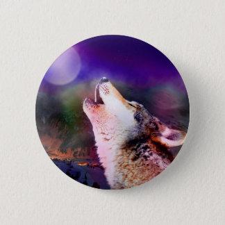 Howlin wolf - moon wolf - head wolf 2 inch round button