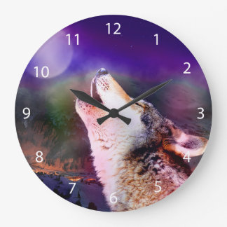 Howlin wolf - moon wolf - head wolf large clock